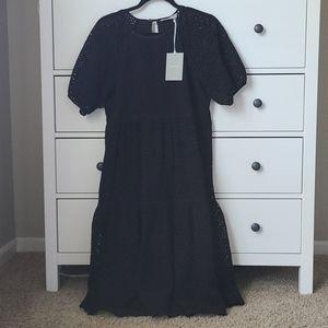 NWT Everlane black eyelet tiered dress small